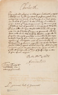 Autographs:Non-American, King Charles II Title Grant Signed...