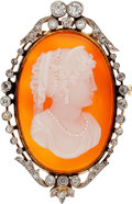 Estate Jewelry:Brooches - Pins, Hardstone Cameo, Diamond, Platinum-Topped Gold Brooch, circa 1900. ...