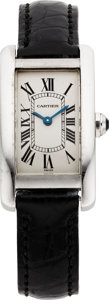 Estate Jewelry:Watches, Cartier Lady's White Gold, Leather 'Tank Americaine' Wristwatch. ...