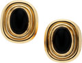 Estate Jewelry:Earrings, Black Onyx, Gold Earrings. ...