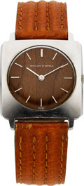 Estate Jewelry:Watches, Van Cleef & Arpels Wood, Stainless Steel, Leather Wristwatch....