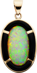 Estate Jewelry:Pendants and Lockets, Opal, Black Onyx, Gold Pendant. ...
