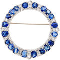 Estate Jewelry:Brooches - Pins, Art Deco Sapphire, Diamond, White Metal Brooch. ...