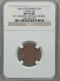 Civil War Merchants, 1863 S.T. Martin, Eating House, Columbus, OH MS62 Brown NGC.Fuld-OH200D-8a....