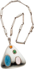 Estate Jewelry:Necklaces, Multi-Stone, Silver Necklace, Burle Marx. ...