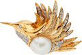 Estate Jewelry:Brooches - Pins, Cultured Pearl, Diamond, Gold Brooch. ...