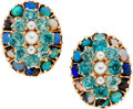 Estate Jewelry:Earrings, Opal, Apatite, Cultured Pearl, Gold Earrings. ...
