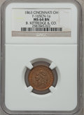 Civil War Merchants, 1863 B. Kittredge & Co., Cincinnati OH, MS64 Brown NGC.Fuld-OH165CN-1a....