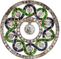 Estate Jewelry:Brooches - Pins, Diamond, Sapphire, Garnet, Platinum-Topped Gold Brooch, circa 1900....