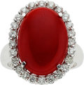 Estate Jewelry:Rings, Coral, Diamond, White Gold Ring. ...