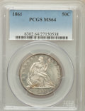 Seated Half Dollars, 1861 50C MS64 PCGS....