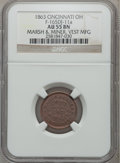 Civil War Merchants, 1863 Marsh & Miner, Vest Manufacturing AU55 NGC.Fuld-OH165DJ-19a. Incorrectly attributed by NGC asFuld-OH165DJ-11a....