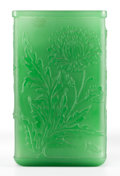 Art Glass:Steuben, AN ACID-ETCHED GREEN VASE . Attributed to Steuben, Early 20thcentury. 9-1/2 inches high x 5-3/4 inches wide (24.1 x 14.6 cm...