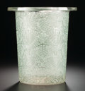 Art Glass:Lalique, AN R. LALIQUE GLASS WINE COOLER WITH GREEN PATINA . Lalique,France, circa 1925. Marks: R. LALIQUE (wheel-cut). 9inches...