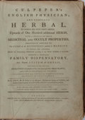 Books:Medicine, Nicholas Culpeper. Culpeper's Complete Herbal and English Physician. Printed for the author and sold by Champante an...