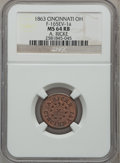 Civil War Merchants, 1863 A. Ricke, Cincinnati, OH, MS64 Red and Brown NGC.Fuld-OH165EV-1a....