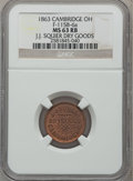 Civil War Merchants, 1863 J.J. Squier Dry Goods, Cambridge, OH, MS63 Red and Brown NGC.Fuld-OH115B-6a....