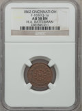 Civil War Merchants, 1862 H.A. Ratterman, Cincinnati, OH, AU58 NGC. Fuld-OH165EQ-1a....