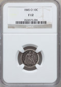 Seated Dimes: , 1845-O 10C Fine 12 NGC. NGC Census: (1/35). PCGS Population (4/66).Mintage: 230,000. Numismedia Wsl. Price for problem fre...