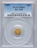 California Fractional Gold: , 1859 50C Liberty Round 50 Cents, BG-1002, High R.4, MS64 PCGS. PCGSPopulation (11/9). NGC Census: (2/5). ...
