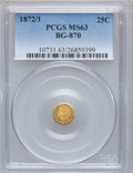 California Fractional Gold: , 1872/1 25C Indian Round 25 Cents, BG-870, R.3, MS63 PCGS. PCGSPopulation (80/90). NGC Census: (4/11). ...