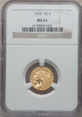 Indian Quarter Eagles: , 1928 $2 1/2 MS61 NGC. NGC Census: (1993/12902). PCGS Population(1223/7669). Mintage: 416,000. Numismedia Wsl. Price for pr...