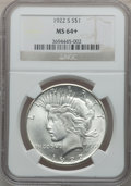 Peace Dollars: , 1922-S $1 MS64+ NGC. NGC Census: (1763/271). PCGS Population(1812/303). Mintage: 17,475,000. Numismedia Wsl. Price for pro...