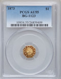 California Fractional Gold: , 1873 $1 Indian Octagonal 1 Dollar, BG-1123, High R.4, AU55 PCGS.PCGS Population (8/51). NGC Census: (0/5). ...