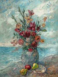 DAVID BURLIUK (Ukrainian/American, 1882-1967) Still Life with Fruit and Flowers by the Sea Oil on ca