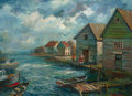American, DAVID BURLIUK (Ukrainian/American, 1882-1967). Fishing Village. Oil on board. 23 x 31 inches (58.4 x 78.7 cm). Signed lo...