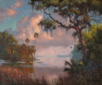 ALBERT E. BACKUS (American, 1906-1991) View of the St. Lucie, circa 1965 Oil on canvas 25 x 30 in