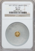 California Fractional Gold: , 1871 25C Liberty Octagonal 25 Cents, BG-765, R.3, MS62 NGC. NGCCensus: (10/13). PCGS Population (81/99). ...