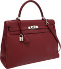 Luxury Accessories:Bags, Hermes 35cm Rouge H Clemence Leather Retourne Kelly Bag withPalladium Hardware. ...