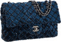 Luxury Accessories:Bags, Chanel Stunning Indigo Blue Satin & Sequin Medium Single FlapBag with Silver Hardware. ...