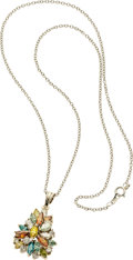 Estate Jewelry:Necklaces, Colored Diamond, Diamond, Platinum, White Gold Necklace. ...