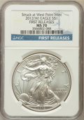 Modern Bullion Coins, 2012(-W) $1 Silver Eagle, Struck at West Point Mint, First ReleasesMS70 NGC. NGC Census: (27704). PCGS Population (129...