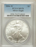 Modern Bullion Coins, 2006-W $1 Silver Eagle MS70 PCGS. PCGS Population (899). NGCCensus: (9728). Numismedia Wsl. Price for problem free NGC/PC...