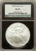 Modern Bullion Coins, 2008 $1 Silver Eagle MS69 NGC. Ex: 25th Anniversary Holder. NGCCensus: (49068/5018). PCGS Population (2830/1462). Numisme...