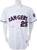 Baseball Collectibles:Uniforms, 2003 Rafael Palmeiro Game Worn, Signed Texas Rangers Jersey - Worn in Third Inning of 500th Home Run Game With MLB Hologram. ...