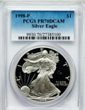 Modern Bullion Coins: , 1998-P $1 Silver Eagle PR70 Deep Cameo PCGS. PCGS Population (987).NGC Census: (1035). Numismedia Wsl. Price for problem ...