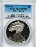 Modern Bullion Coins: , 1993-P $1 Silver Eagle PR70 Deep Cameo PCGS. PCGS Population (224).NGC Census: (306). Mintage: 403,625. Numismedia Wsl. Pr...