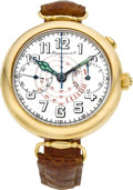 Timepieces:Wristwatch, Hausmann & Co. Very Rare Gold Single Button Split Seconds Chronograph, circa 1925. ...