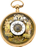 Timepieces:Pocket (pre 1900) , Swiss Gold Skeletonized Quarter Hour Repeater With Automaton, circa 1800. ...