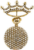 Timepieces:Pocket (post 1900), Longines Gold & Pearl Miniature With Pin, circa 1905. ...