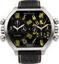 Timepieces:Wristwatch, deLaCour Double Time Zone Bichrono Steel Wristwatch No. 476/500. ...