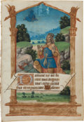 Books:Fine Press & Book Arts, [Illuminated Manuscript Leaf]. King David Kneeling Before God in aMeadow. [N.p., ca. 1500's]. From a Book of Hours in Latin...