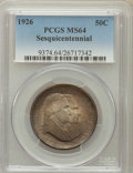 Commemorative Silver: , 1926 50C Sesquicentennial MS64 PCGS. PCGS Population (2036/294).NGC Census: (1781/286). Mintage: 141,120. Numismedia Wsl. ...