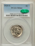 Buffalo Nickels: , 1929-S 5C MS64 PCGS. CAC. PCGS Population (704/678). NGC Census:(378/240). Mintage: 7,754,000. Numismedia Wsl. Price for p...