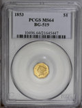 California Fractional Gold: , 1853 $1 Liberty Octagonal 1 Dollar, BG-519, Low R.4, MS64 PCGS. Ayellow-gold piece with reflective luster. Nicely detailed...