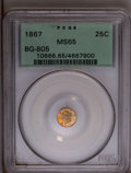 California Fractional Gold: , 1867 25C Liberty Round 25 Cents, BG-805, Low R.5, MS65 PCGS. Alustrous and extremely well-preserved Gem with a partially p...